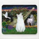 Gato blanco - maderas mágicas tapete de ratones