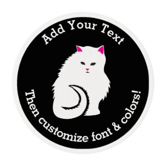 Gato blanco mullido láminas de glaseado redondas