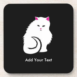 Gato blanco mullido posavasos