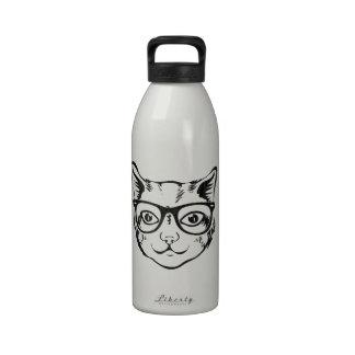 Gato blanco negro del inconformista botella de beber