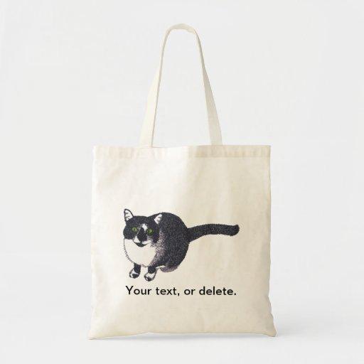 Gato blanco negro lindo en bolsos de la lona del bolsa tela barata