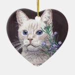 Gato blanco ornaments para arbol de navidad