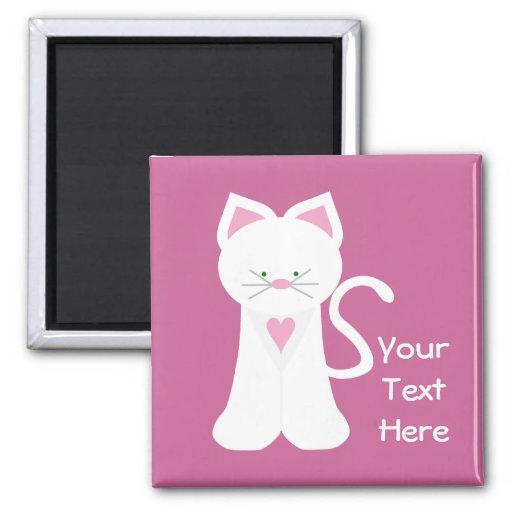 Gato blanco (personalizable) imán de frigorifico