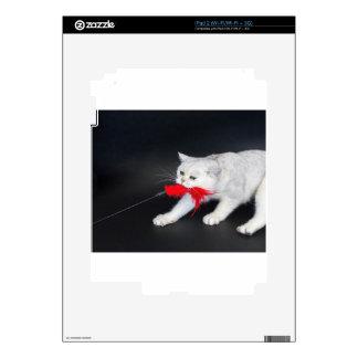 Gato blanco que juega tirando del juguete rojo skin para el iPad 2