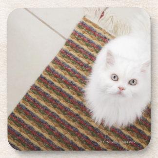 Gato blanco que se sienta en la estera posavasos de bebida