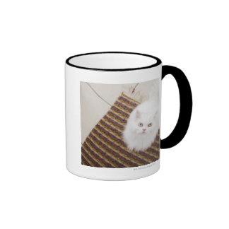 Gato blanco que se sienta en la estera taza de dos colores