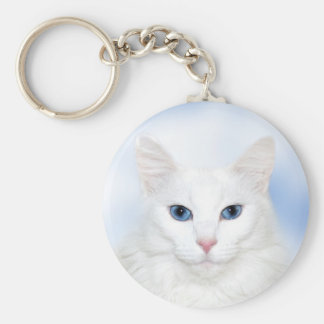Gato blanco real llavero redondo tipo pin