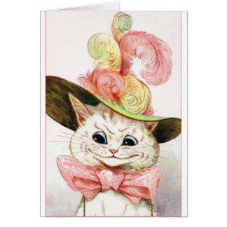 Gato blanco sonriente con el gorra tarjeta