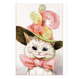 Gato blanco sonriente con el gorra tarjeta postal