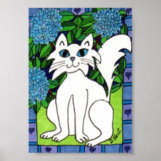 Gato blanco y arte popular de los Hydrangeas Póster
