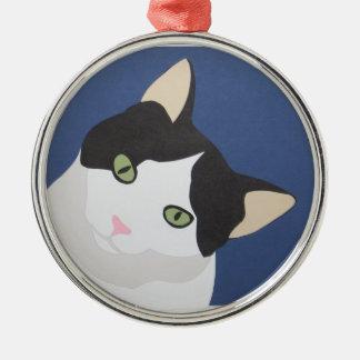 Gato blanco y negro adorno navideño redondo de metal