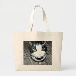 Gato blanco y negro bolsa tela grande