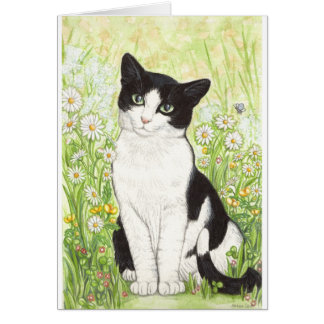 Gato blanco y negro con las margaritas tarjeta de felicitación