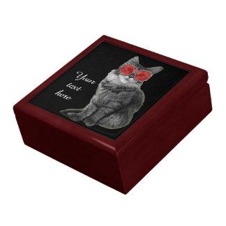 Gato blanco y negro con los vidrios rojos caja de joyas