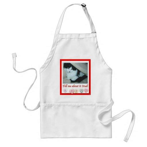 Gato blanco y negro de la tarjeta del día de San V Delantal