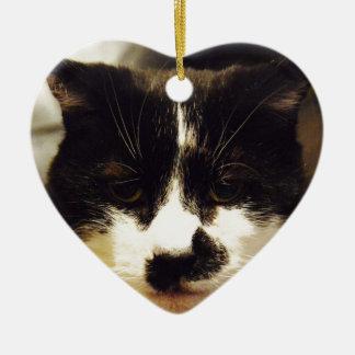 Gato blanco y negro de Monty Adorno Navideño De Cerámica En Forma De Corazón