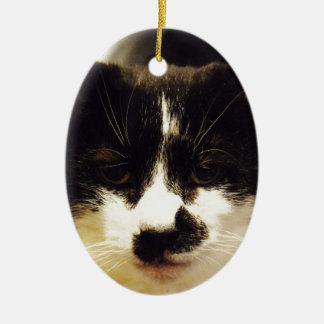 Gato blanco y negro de Monty Adorno Navideño Ovalado De Cerámica