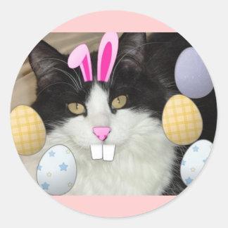 Gato blanco y negro de Pascua Pegatina Redonda