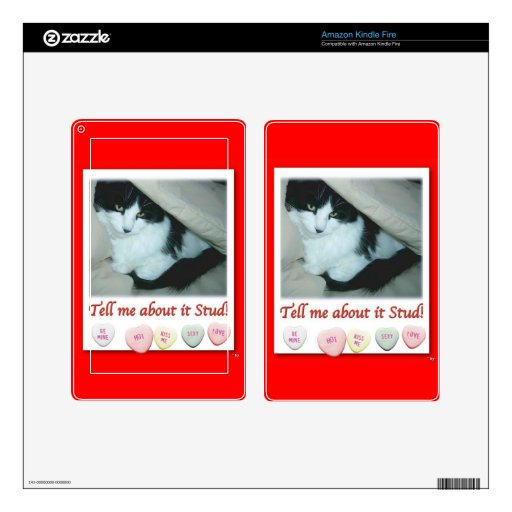 Gato blanco y negro del el día de San Valentín Kindle Fire Pegatina Skin