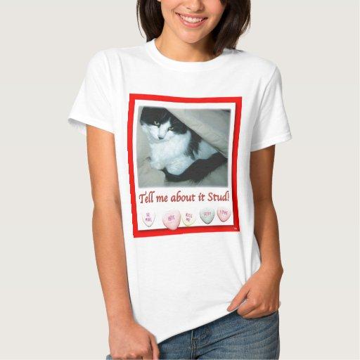 Gato blanco y negro del el día de San Valentín Tshirts