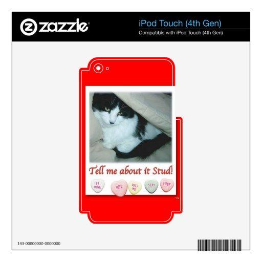 Gato blanco y negro del el día de San Valentín Calcomanía Para iPod Touch 4G