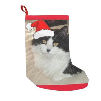 Gato blanco y negro del navidad calcetín de navidad pequeño