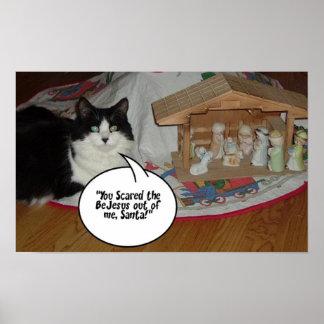 Gato blanco y negro del navidad póster