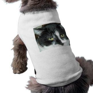 Gato blanco y negro del smoking playera sin mangas para perro