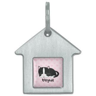 Gato blanco y negro del smoking {rosa} placas de nombre de mascota