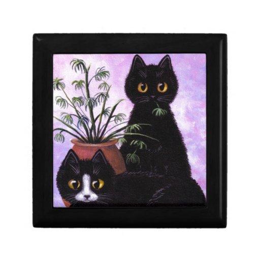Gato blanco y negro divertido Creationarts Cajas De Recuerdo