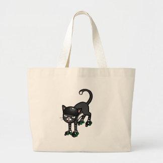 Gato blanco y negro en Rollerskates Bolsa Tela Grande