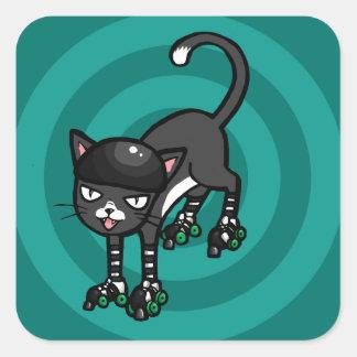 Gato blanco y negro en Rollerskates Pegatina Cuadrada