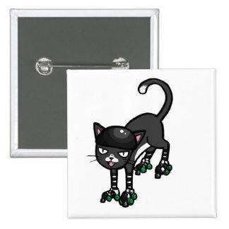 Gato blanco y negro en Rollerskates Pins