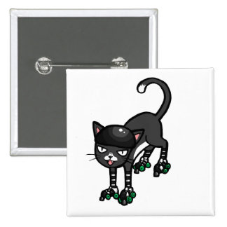 Gato blanco y negro en Rollerskates Pin Cuadrado