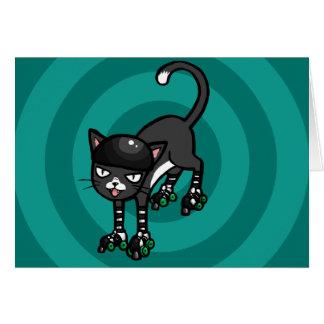 Gato blanco y negro en Rollerskates Tarjeta De Felicitación