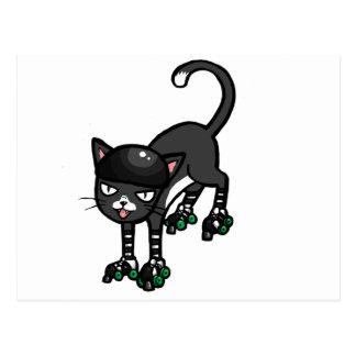 Gato blanco y negro en Rollerskates Tarjeta Postal