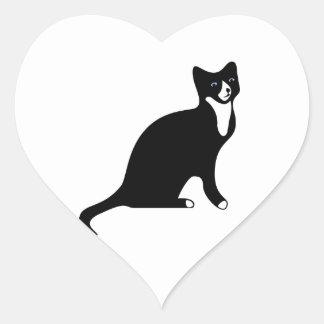 Gato blanco y negro lindo de la raqueta colcomanias corazon