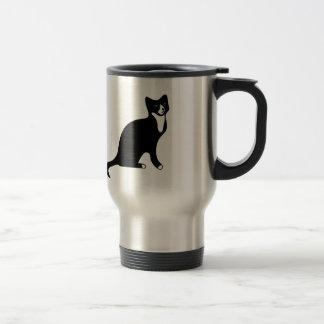 Gato blanco y negro lindo de la raqueta taza térmica