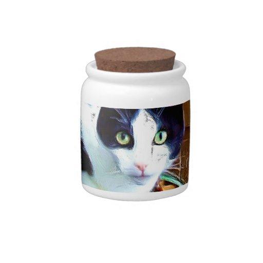 Gato blanco y negro platos para caramelos