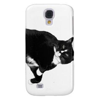 Gato blanco y negro que mira para arriba el recort samsung galaxy s4 cover