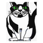 Gato blanco y negro rechoncho membrete a diseño