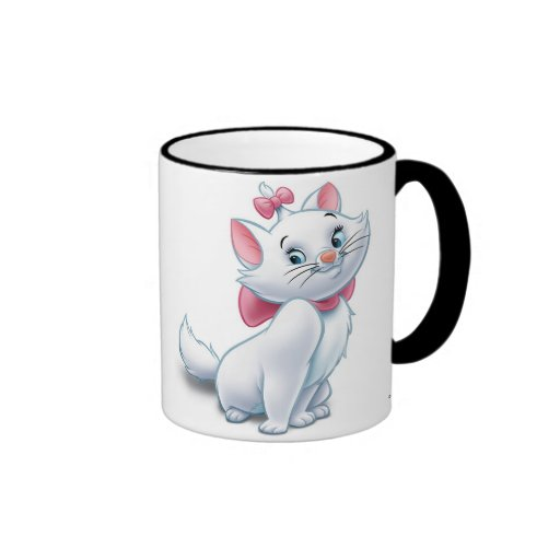 Gato blanco y rosado Disney de Aristocats lindo Tazas De Café