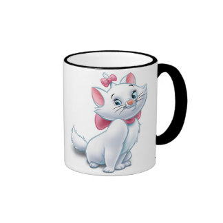 Gato blanco y rosado Disney de Aristocats lindo Taza De Dos Colores