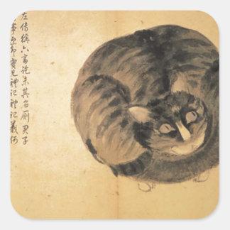 Gato (bosquejos a partir de la vida) por Shen Zhou Pegatina Cuadrada