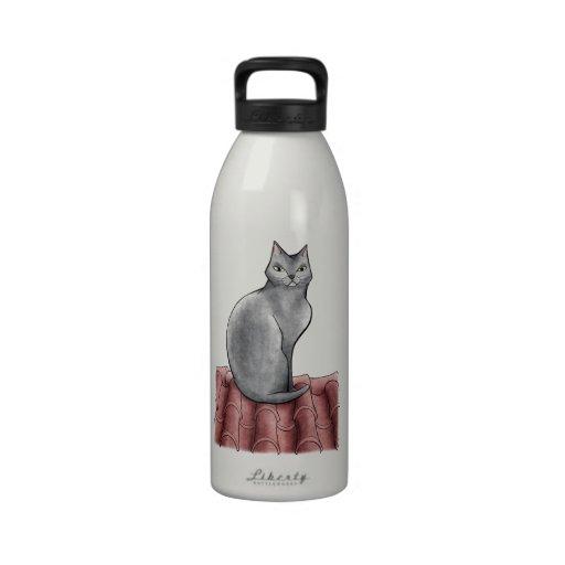 gato botellas de agua reutilizables