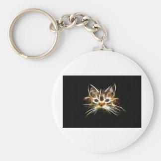 Gato brillante llavero redondo tipo pin