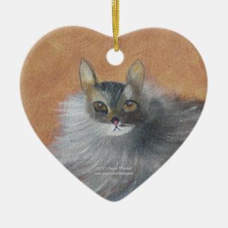 Gato callejero adorno navideño de cerámica en forma de corazón