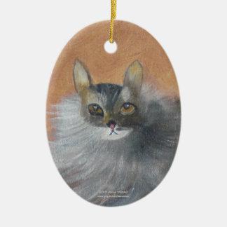 Gato callejero adorno navideño ovalado de cerámica