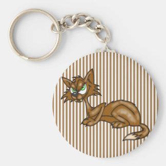 Gato callejero de Brown del dibujo animado Llavero Redondo Tipo Pin