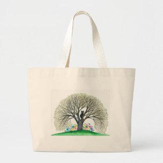 Gato caprichoso de Boston en bolso del árbol Bolsa Tela Grande
